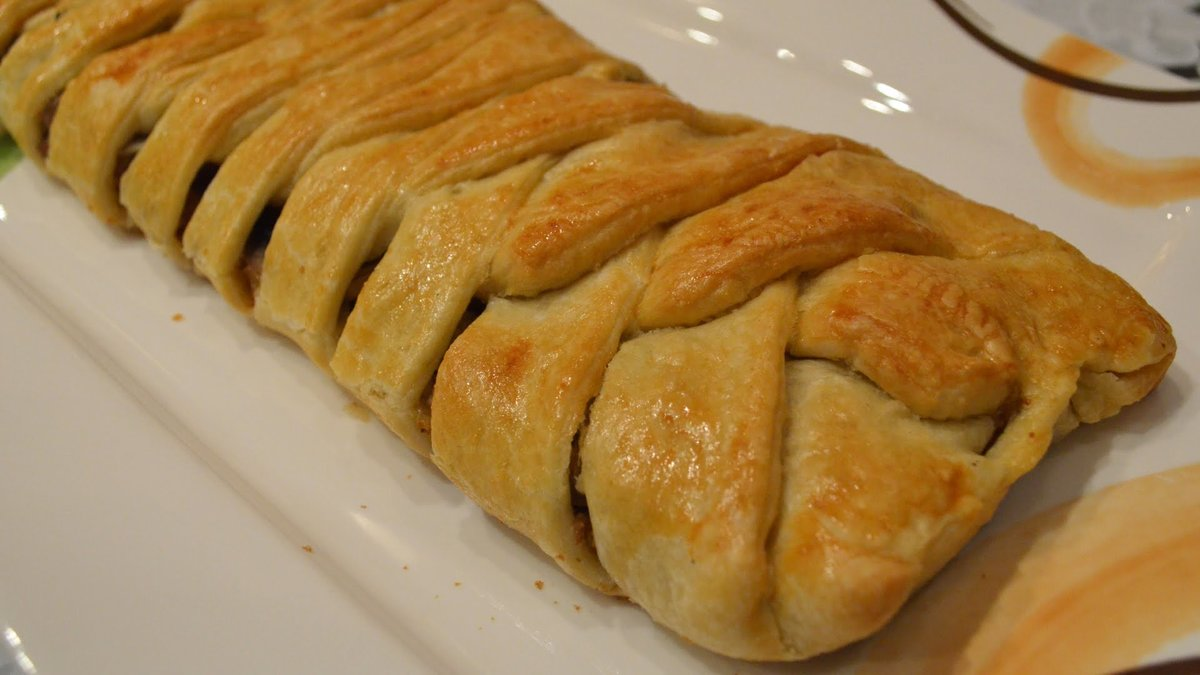 Пирог из дрожжевого слоеного теста с фаршем и картошкой рецепт с в