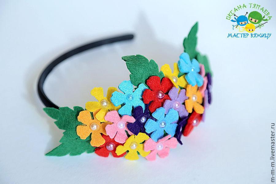 Ободок с цветами из фетра своими руками 42