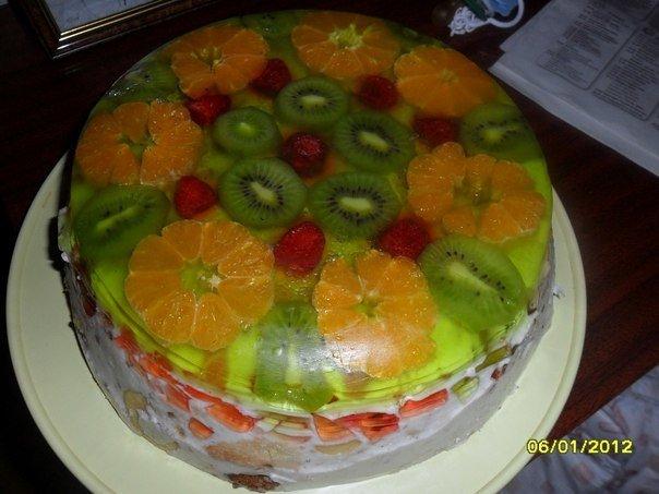 Торт битое стекло рецепт с фруктами с фото