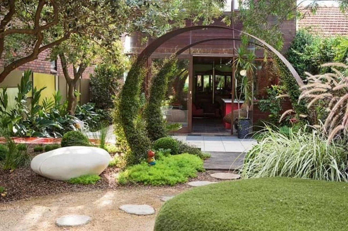 Дизайн частного двора своими руками недорого фото