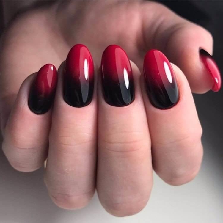 Ногти 2017 красный и чёрный