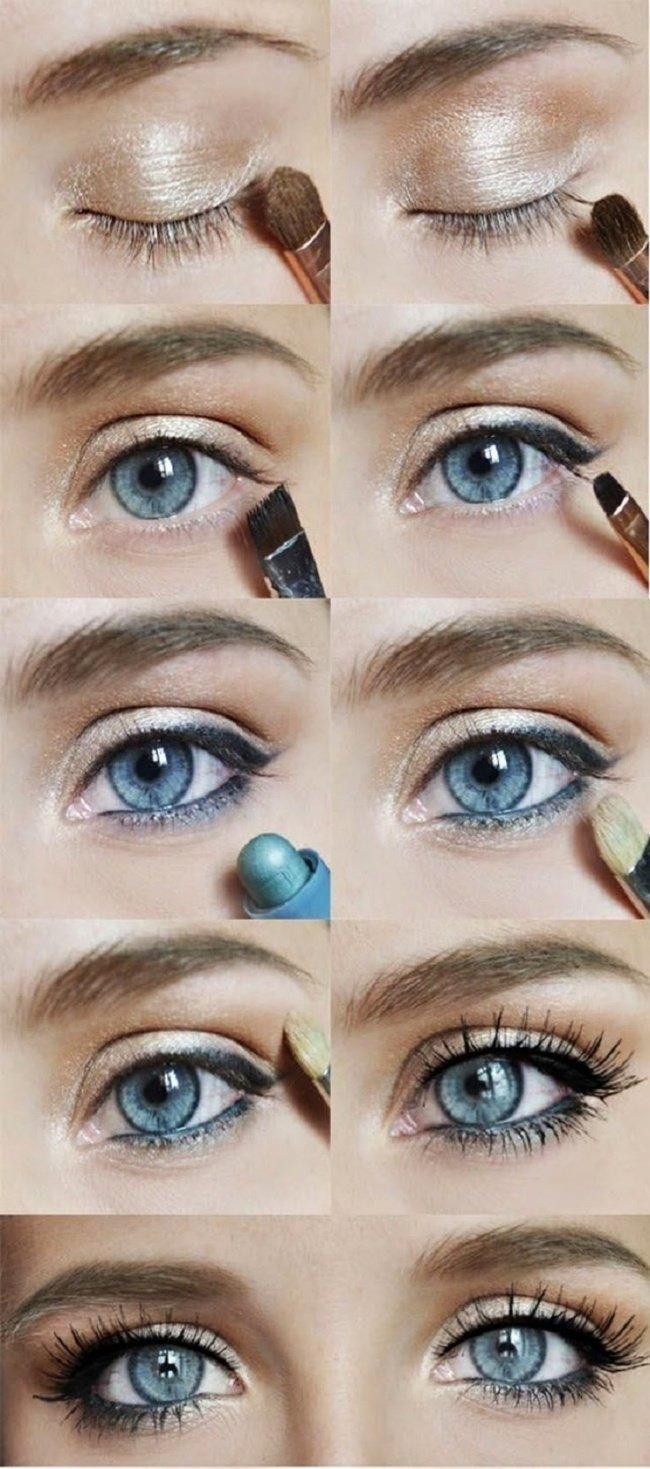 Пошаговый макияж с инструкцией для серых глаз с фото