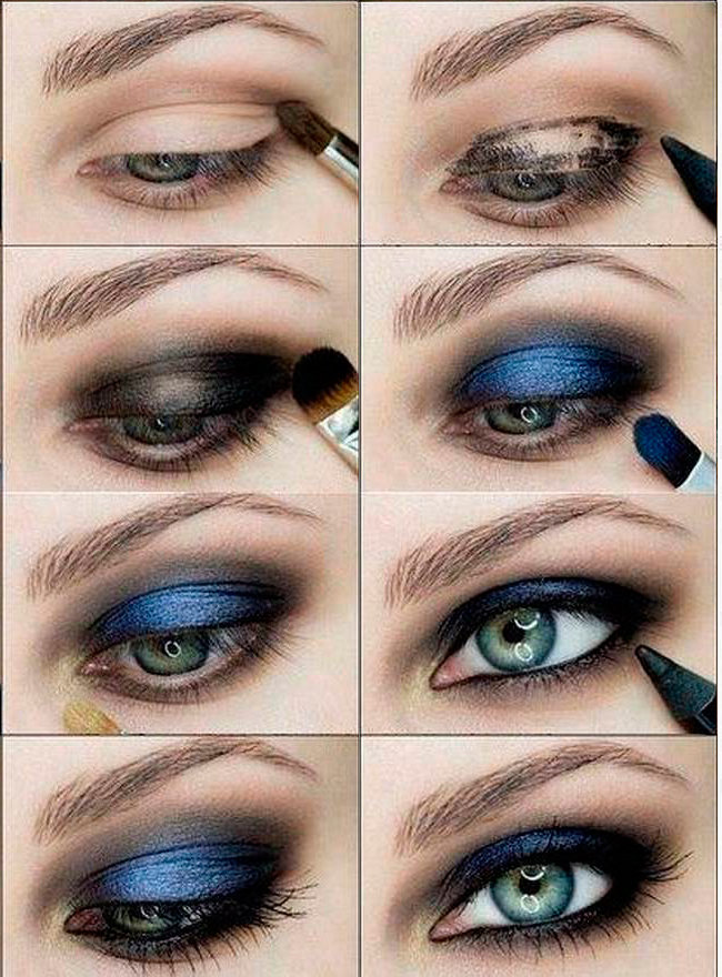 Серый макияж для голубых глаз