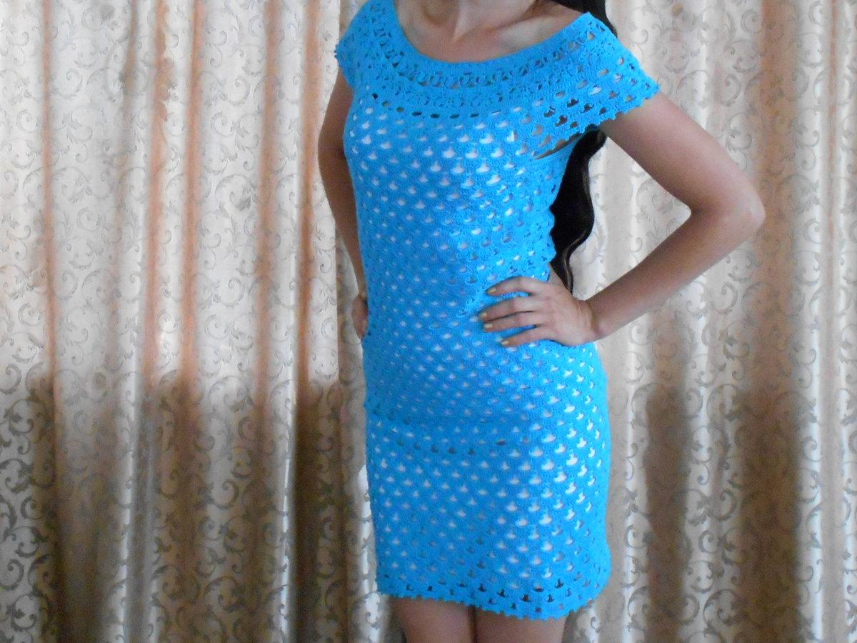 Вязание крючком платья из хлопка 189