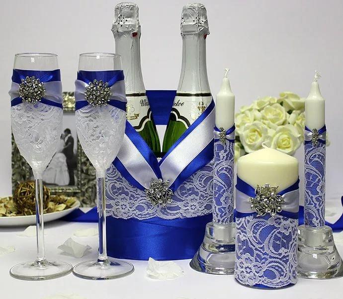 Свадебные аксессуары в синем цвете