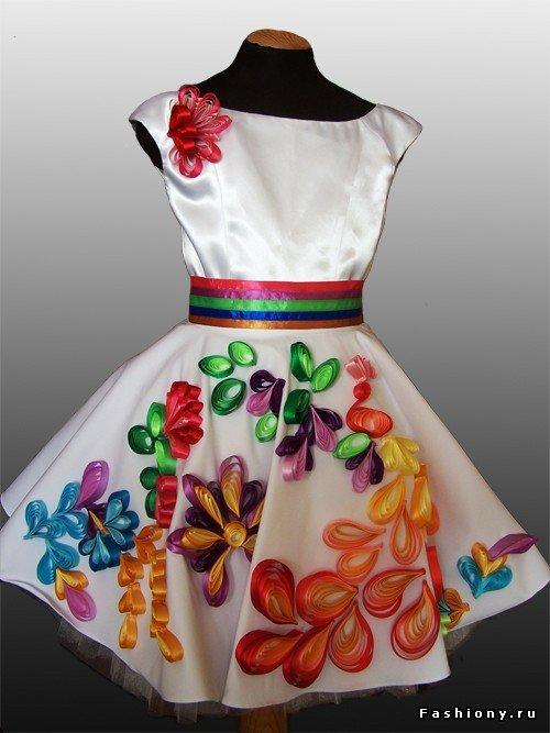 Украсить платье атласными лентами своими руками 38