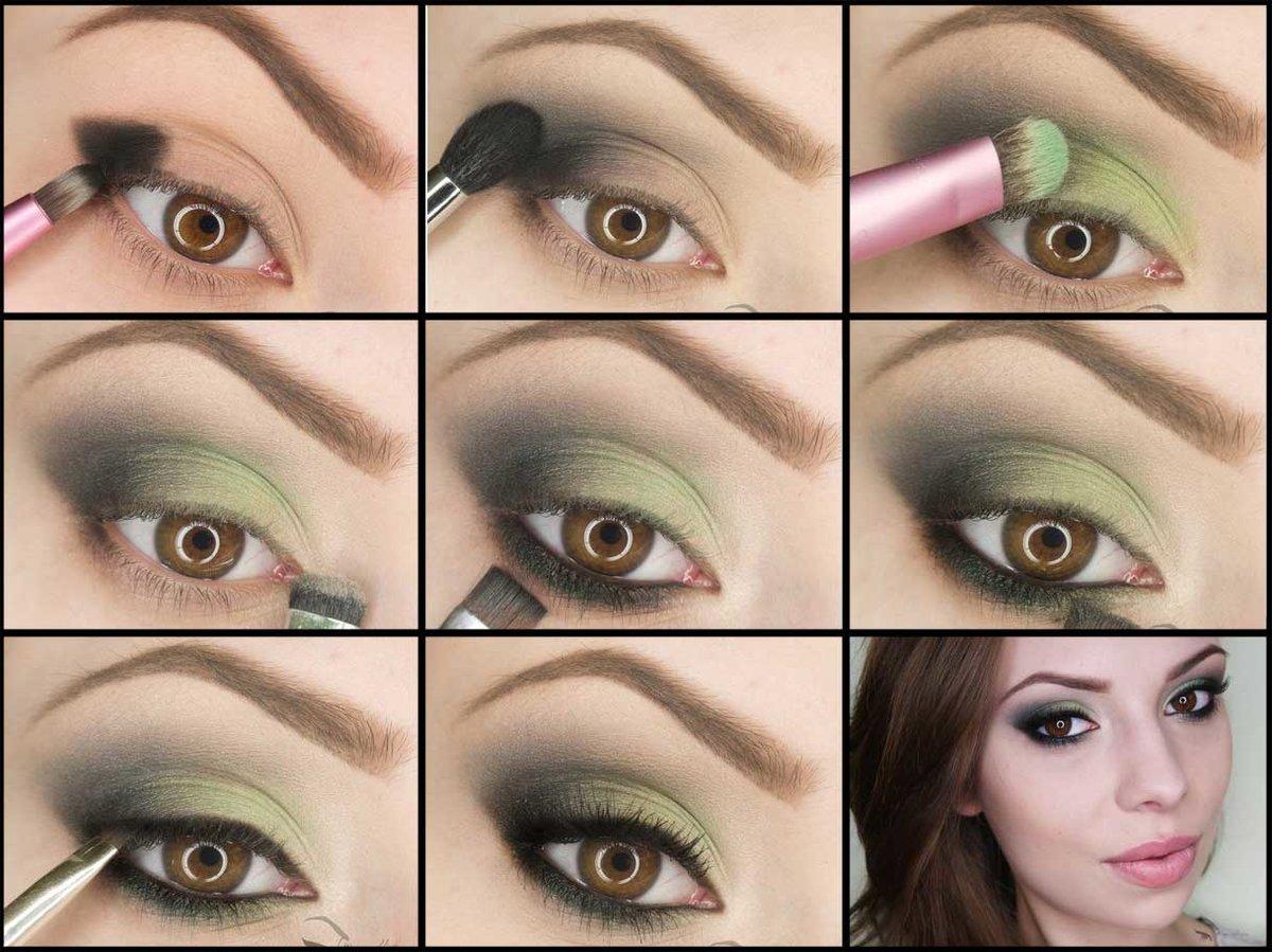Простой макияж для карих глаз пошагово
