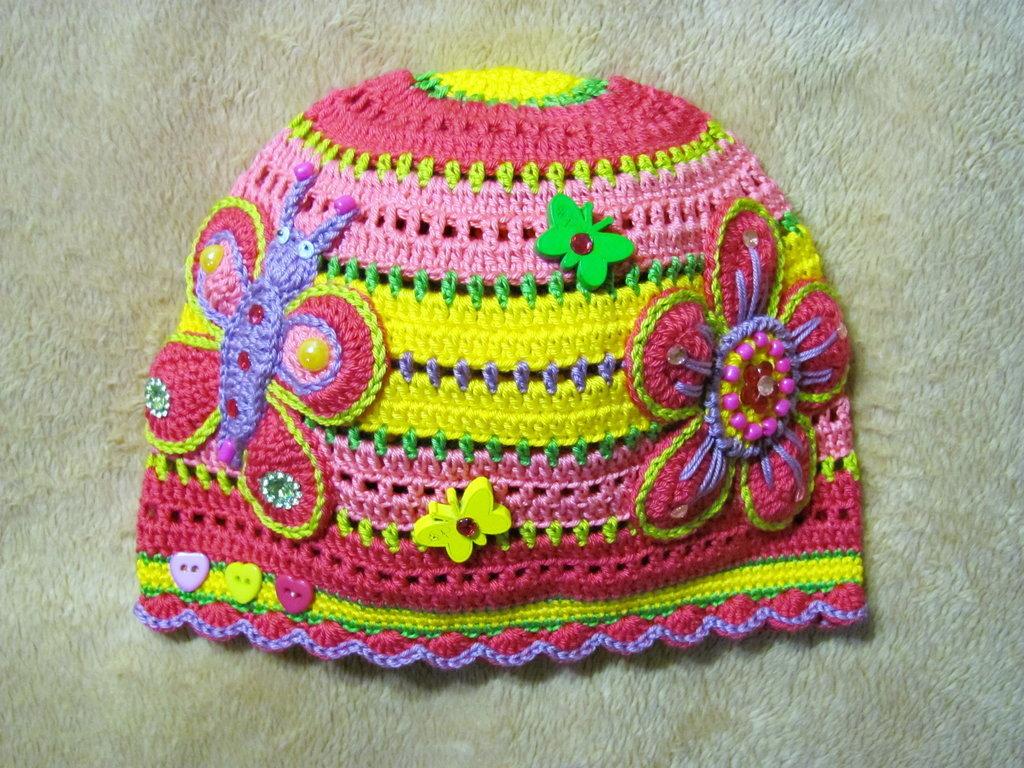 Вязанье шапочки летние для девочки 713