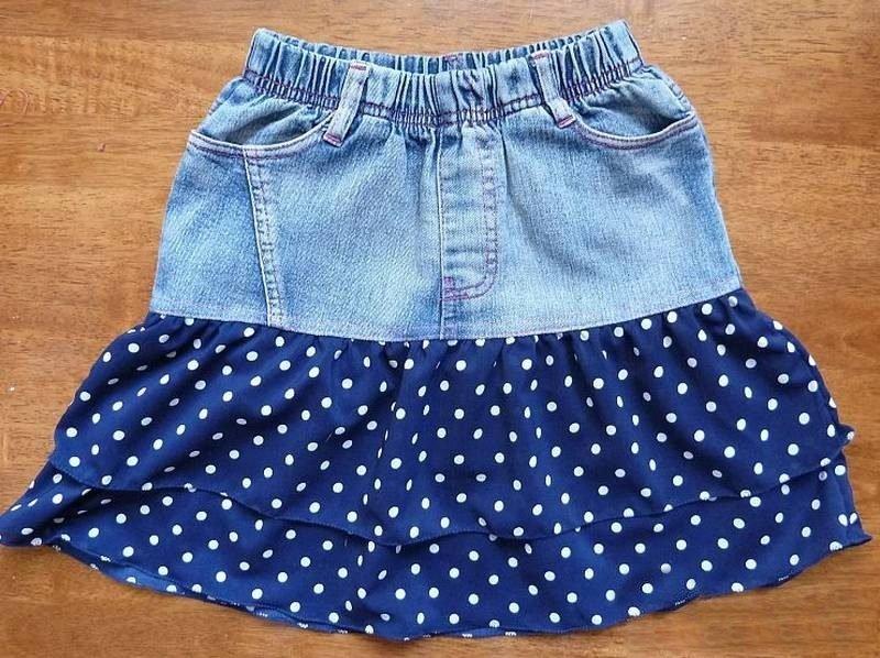 Юбка для девочки сшить из старых джинсов