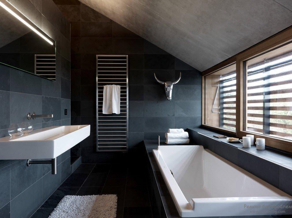 Темные ванные комнаты : фото идеи дизайна
