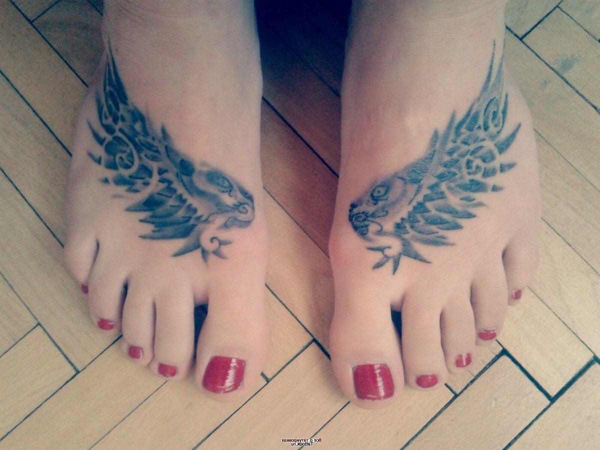 Татуировка крыло на ноге фото