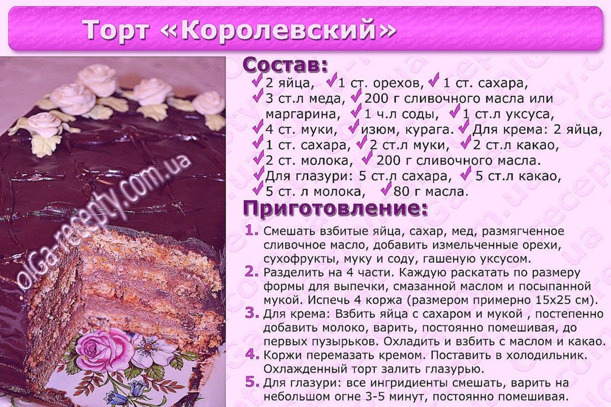 Несложные рецепты тортов пошагового