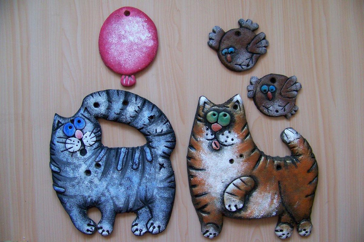 Поделки из солёного теста коты фото