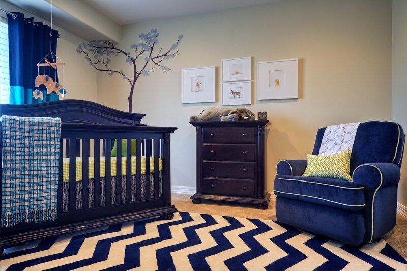 Синяя мебель дизайн комнаты