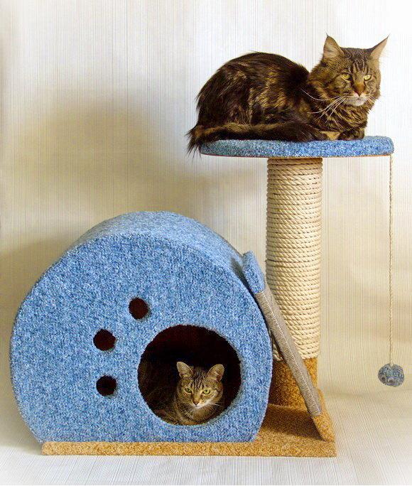 Домик для кошки своими руками с когтеточкой