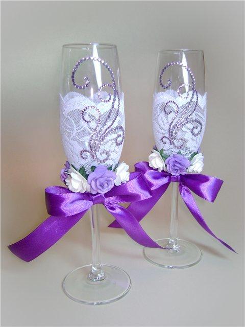 Бокалы свадебные своими руками фиолетовые