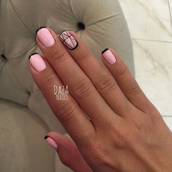 Френч с рисунком на ногтях - 50 лучших фото