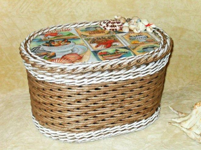Ситцевое плетение из газетных трубочек двумя трубочками