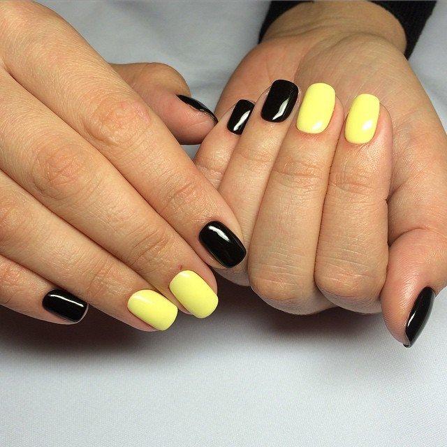 Маникюр гель лаком желтый черный фото