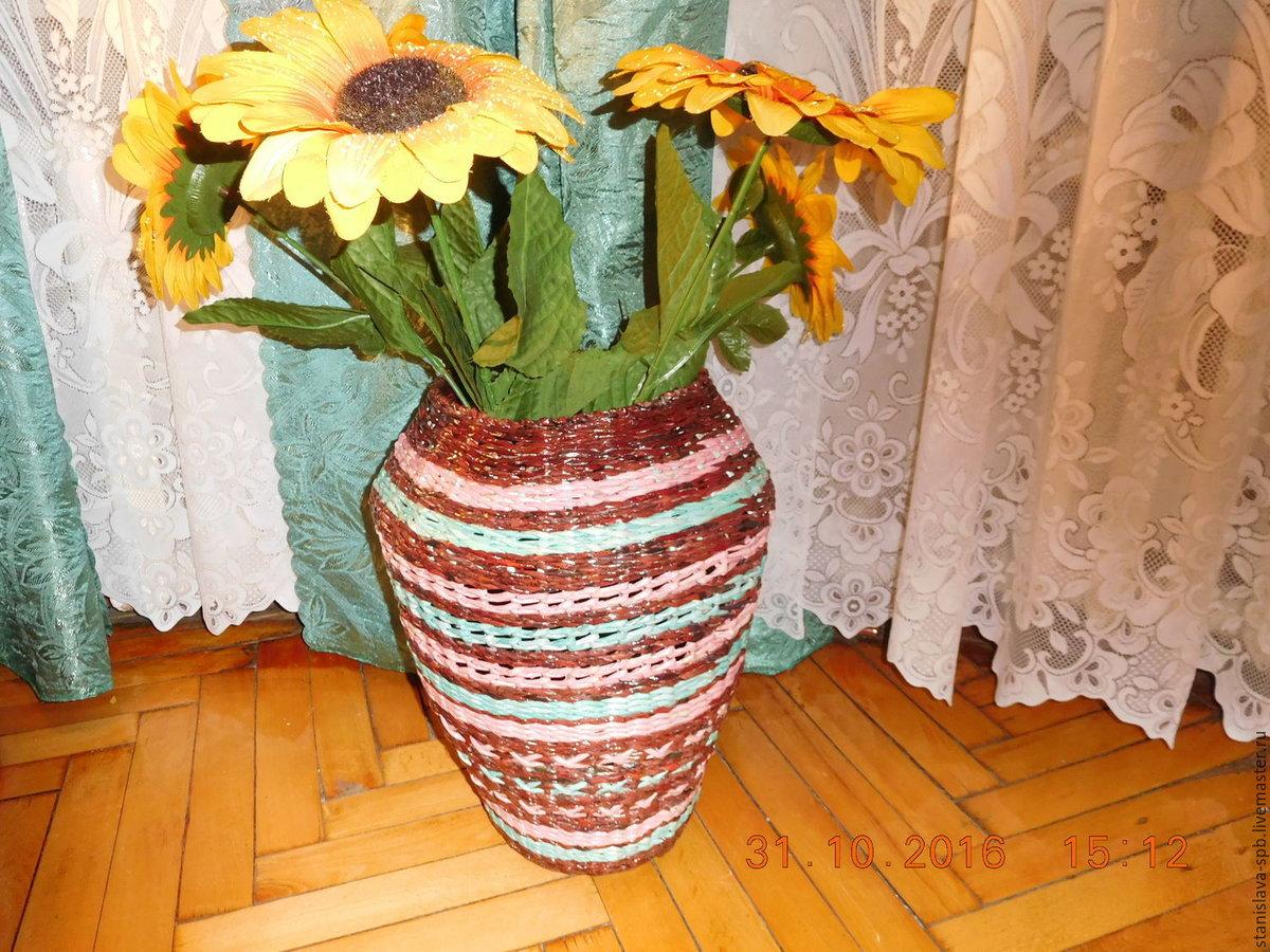 Вазы для цветов из газетных трубочек фото