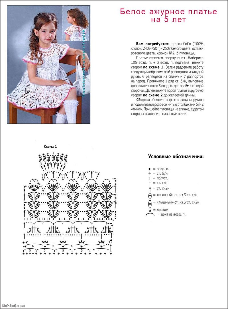 Схемы для платьев девочкам крючком
