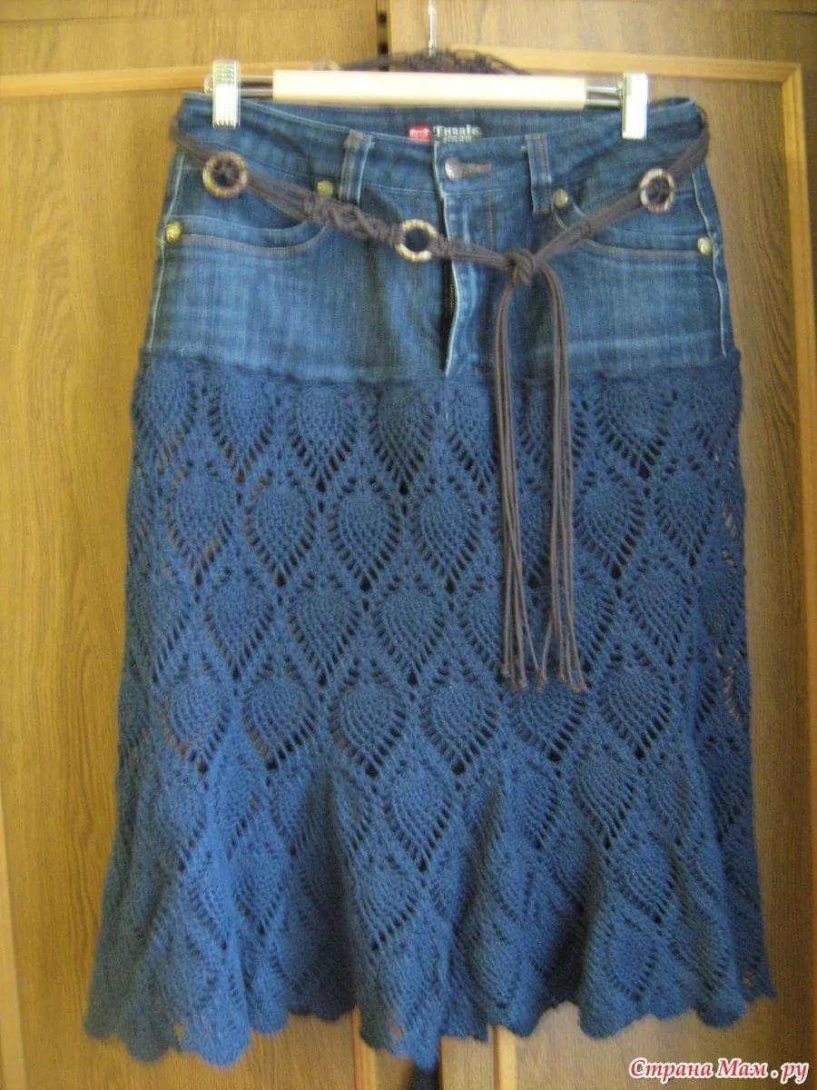 Фото юбка из старых джинс своими руками фото