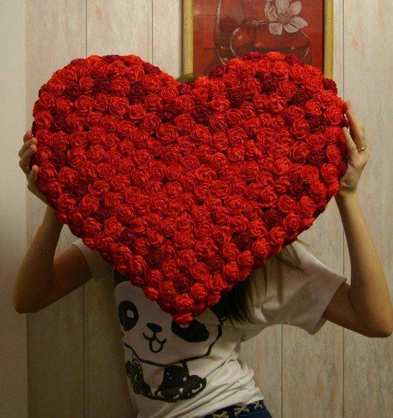 Сердце цветов из салфеток своими руками