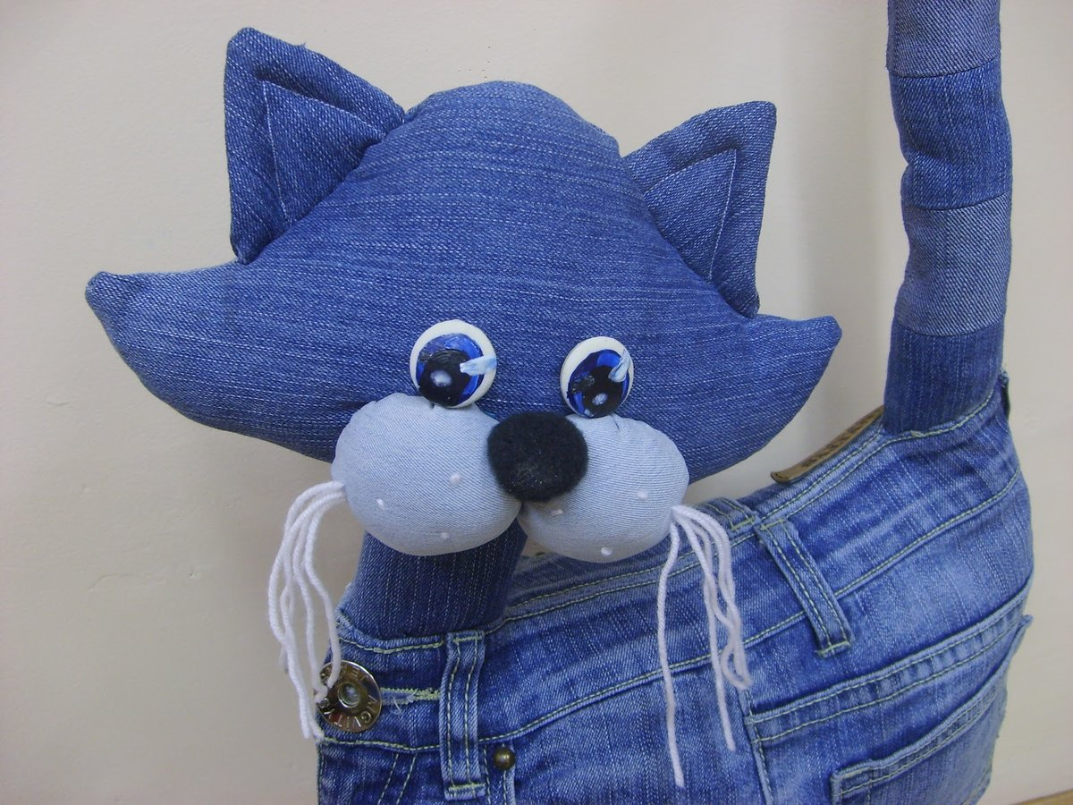 Сшить кота из джинсовой ткани 15