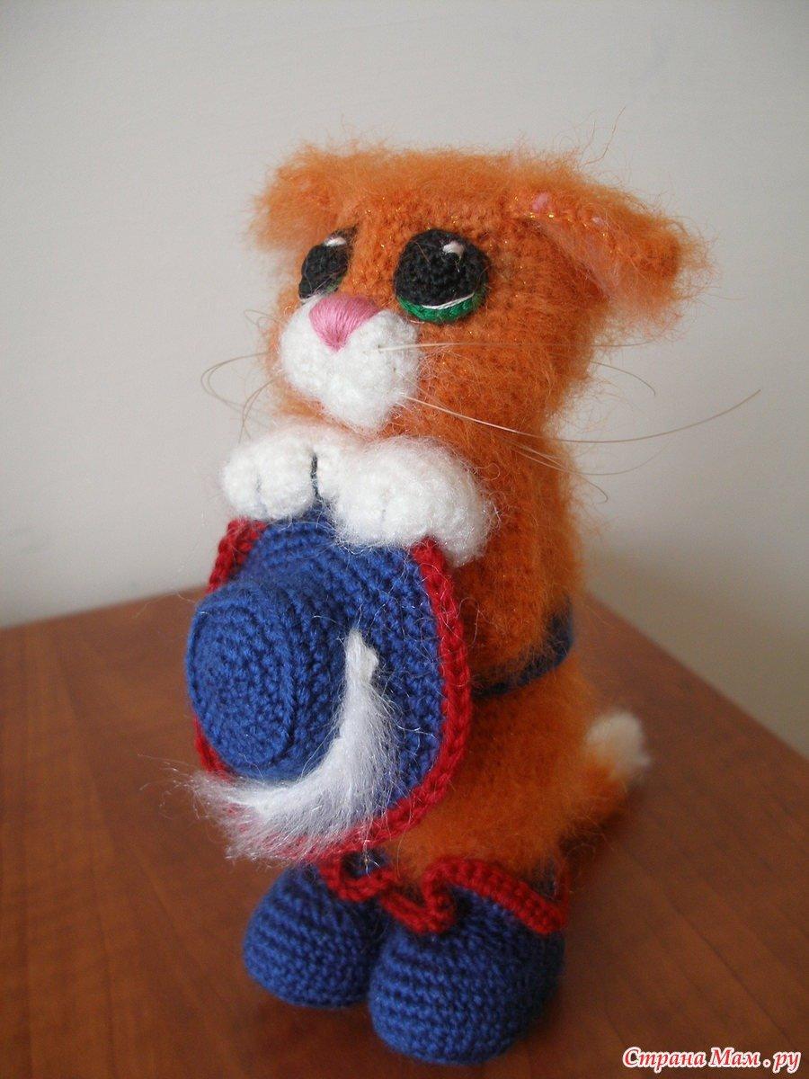 Вязание спицами игрушка кошка