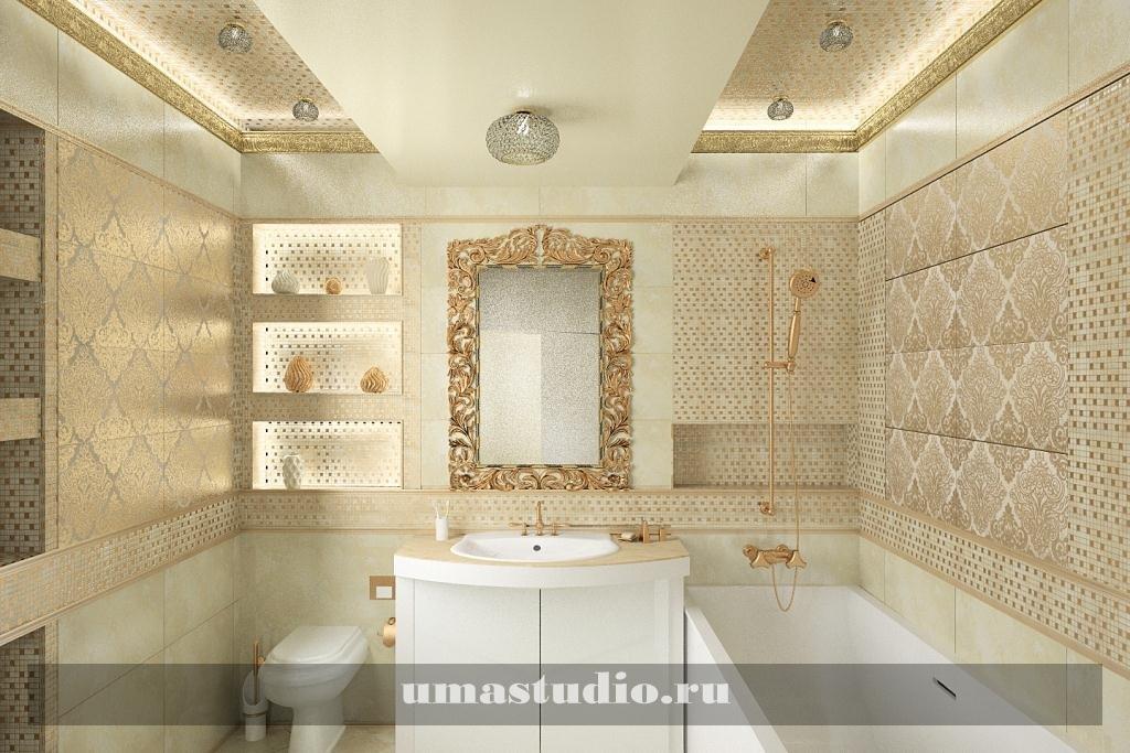 Ванная в золотистых тонах дизайн