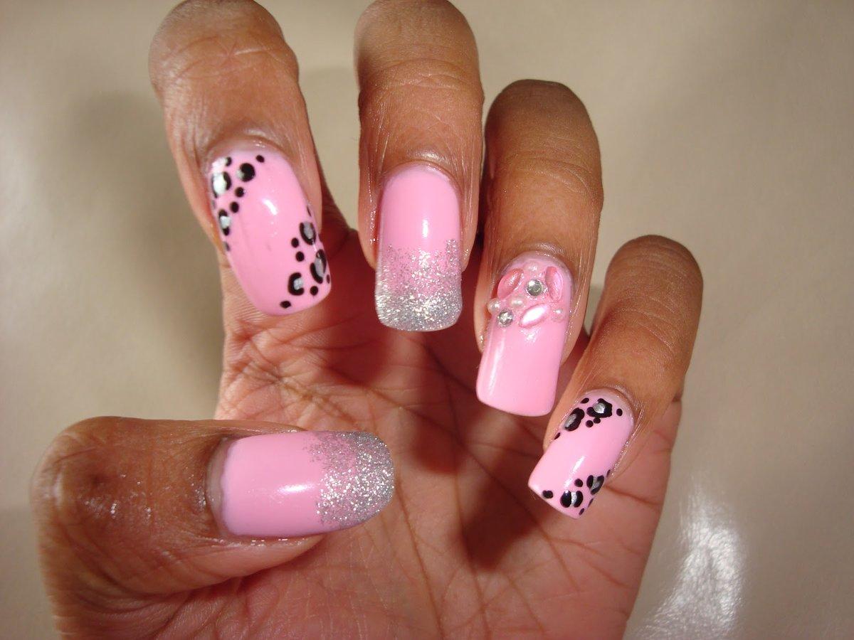 Дизайн для розовых ногтей фото