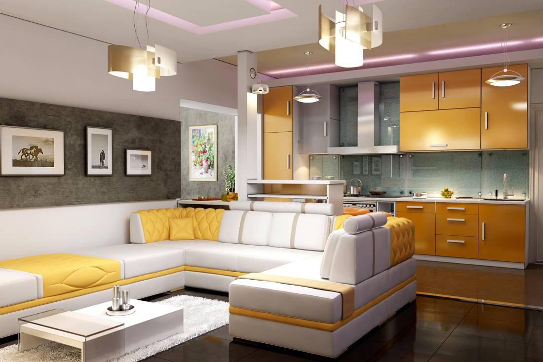 Дизайн пола кухни совмещенной с гостиной 45