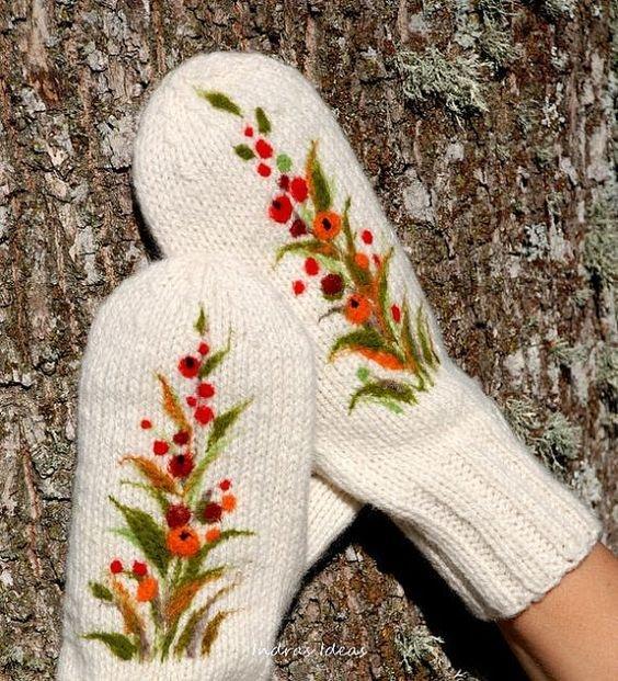 Вышивка на варежках своими руками мастер класс 34