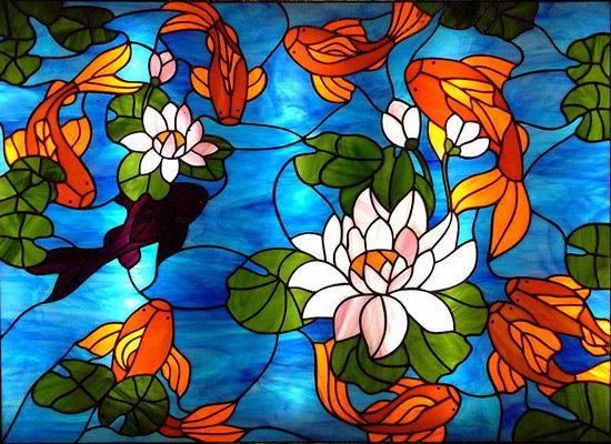 Трафареты витражей красками на стекле своими руками 69