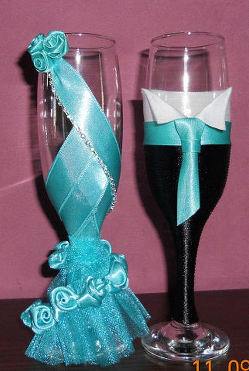 Идея украшения свадебных бокалов своими руками 84