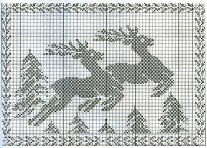 Новогодняя скатерть крючком филейное вязание 22