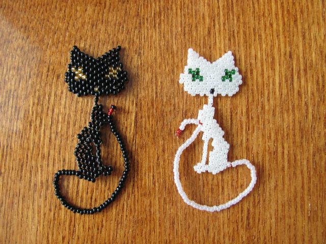 Плетение из бисера котенок