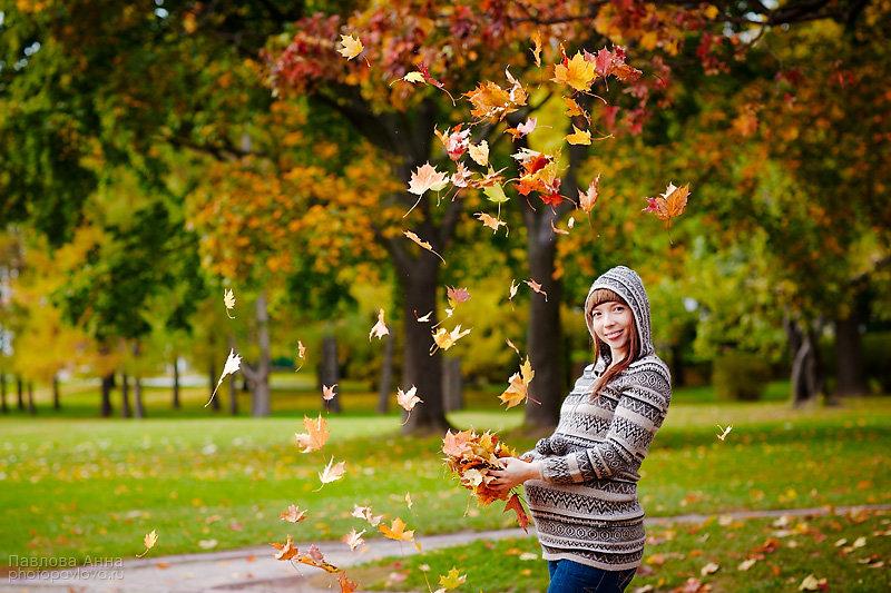 Беременная фотосессия на улице осенью 11