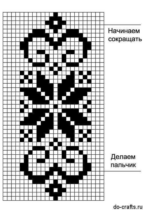Простой узор для вязания варежек