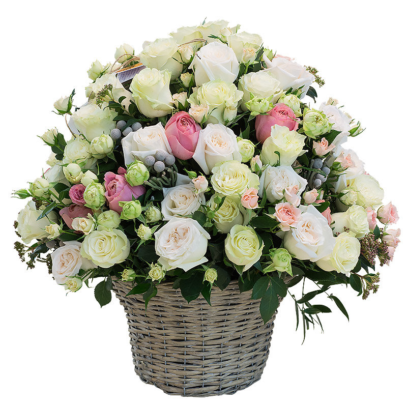 Фото букетов цветов в корзинках