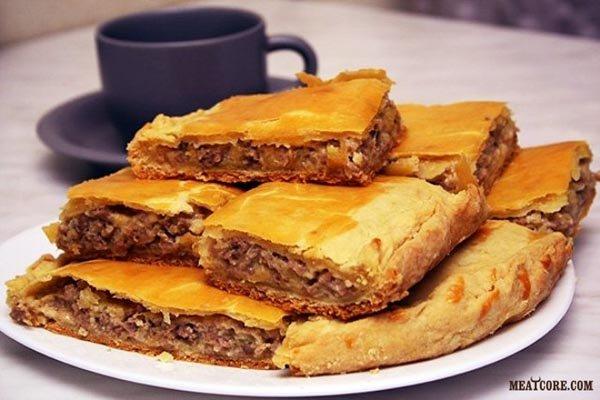 Пирог слоеный с фаршем и картошкой рецепт с в
