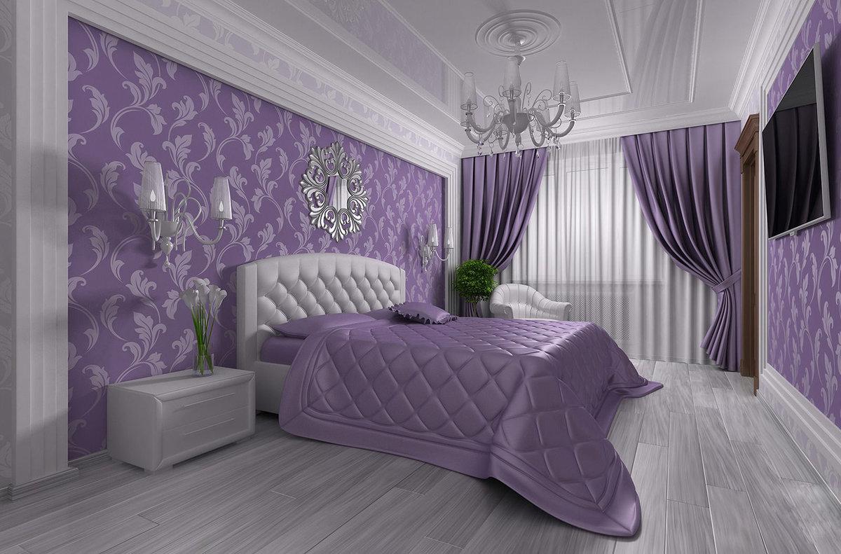 Дизайн спальни в фиолетовых тонах дизайн