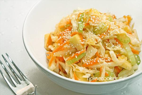 Салат капуста морковь яблоко рецепт с