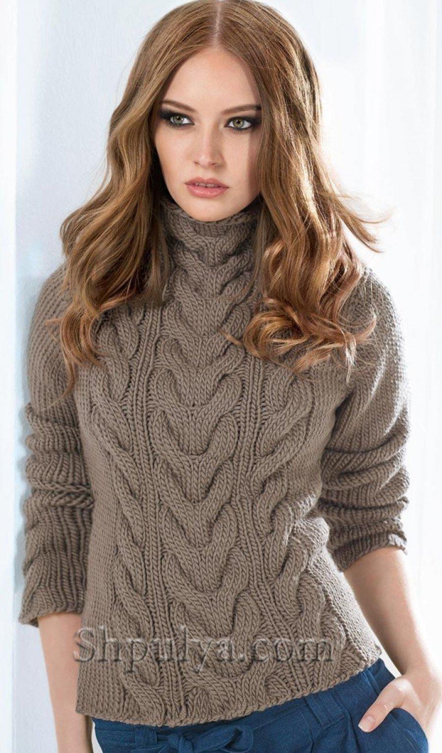 Вязание спицами кофты с косами фото
