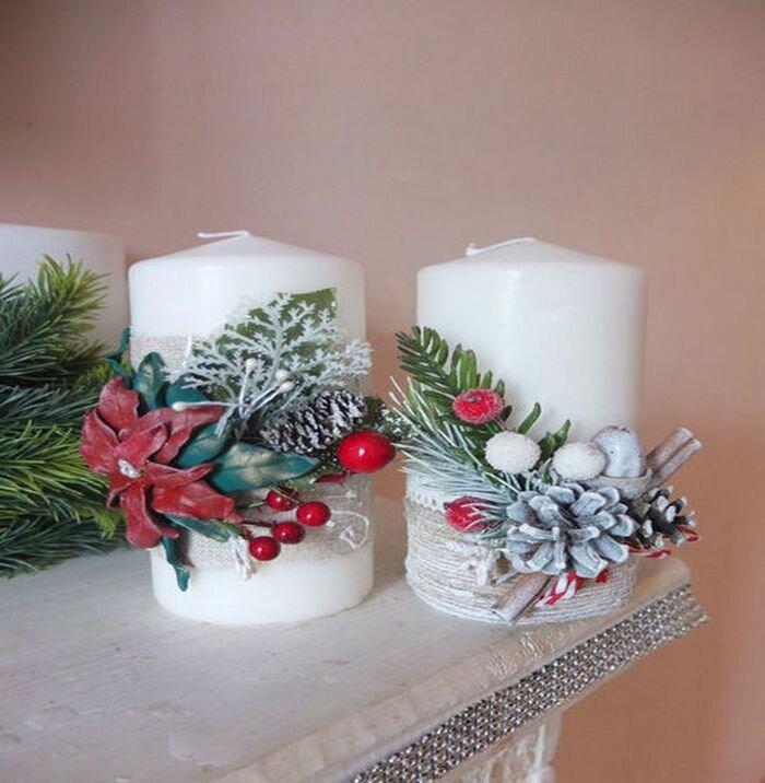 Украсить свечи к новому году своими руками