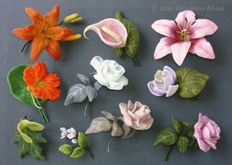 Цветы из валяной шерсти своими руками мастер класс