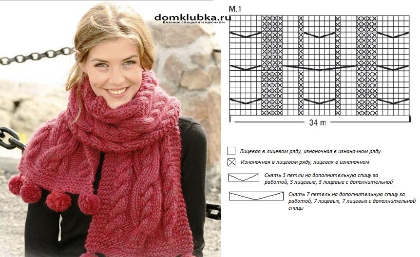 Узоры для вязания шарфа и шапки 249
