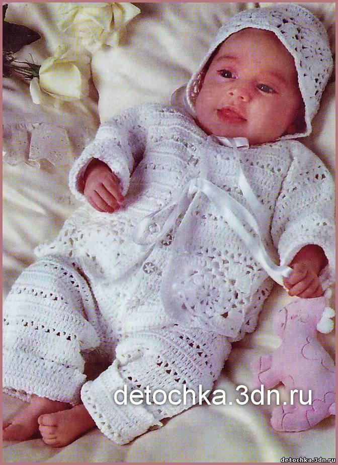 Вязание спицами на новорожденных девочек комбинезон 656