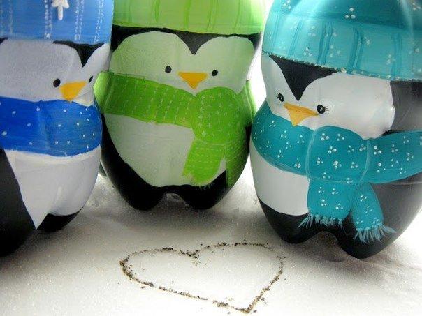 Поделки из бутылок пингвинов 701