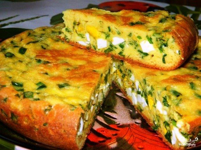 Заливной пирог на кефире с луком и яйцом рецепт с фото в мультиварке